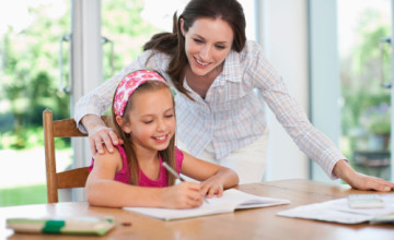 homeschooling mom and daughter
